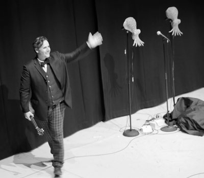 Rob Newman and squids at the Norwich Playhouse